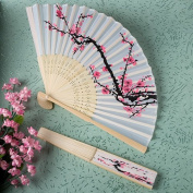 Delicate cherry blossom design silk folding fan favours [SET OF 24]