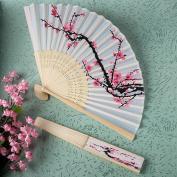 Delicate cherry blossom design silk folding fan favours [SET OF 24]