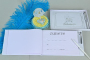 Baby Shower Guest Books for Baby Shower with Silver Trim in Transparent Box