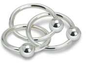 Krysaliis Sterling Silver Baby Teether and Rattle, Three Ring