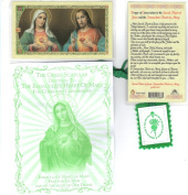 Blessed By Pope Francis Immaculate Heart of Mary Green Cloth Scapular and Praying Holy Card