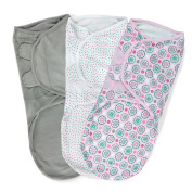 Summer Infant SwaddleMe Adjustable Infant Wrap, Geo Floral, Large, 3 Count