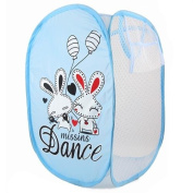 SymCool - Super Cute - Foldable Pop Up Hamper, Laundry Basket or Toy Chest for Storage - Cartoon Theme - White Rabbits