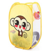 SymCool - Super Cute - Foldable Pop Up Hamper, Laundry Basket or Toy Chest for Storage - Cartoon Theme - Brown Monkey