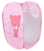 SymCool - Super Cute - Foldable Pop Up Hamper, Laundry Basket or Toy Chest for Storage - Cartoon Theme - Red Bear