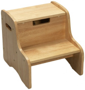 Gift Mark Childrens Two Step Stool with Storage, Natural