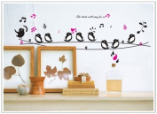 Free Will The Bird Will Sing for Us Birds Sing on A Line Music Wall Decor Decal Sticker