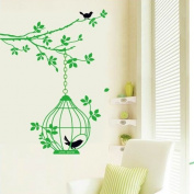 Free Will Green Branch Tree with Birds and Birdcage Wall Decal Sticker Home Decor Mural