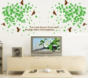 SSummer Love Last Forever If You Want Quote Green Tree Leaves Brown Birds Wall Decal Sticker Home Decor
