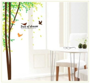 Free Will Tree of Dream Quote Wall Sticker Tall Trees & Birds for Living Room Decor