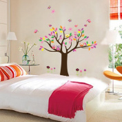 Hunnt® Pretty Princess Bedroom Colourful Flowers Butterfly Owls Birds Around Tree Nursery Wall Art Stickers Decal Home Decor Decorate Removable for Nursery Baby Girls Kid's Room