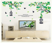 Free Will Beside the Tree Quote Branches of Trees with Leaves Birds and Birdcages DIY Wall Decal Home Decor Sticker