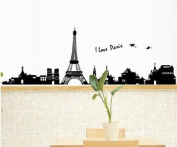 Salala Large I Love Paris Eiffel Tower Wall Decals Sticker for Kids Room Living Room