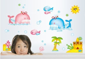 Free Will Cartoon Whale Fish Castle and Sun DIY Removable Wall Decal Sticker