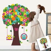"haya TM Lovely blooms zoo nursery children's room decorative wall stickers Kids Vinyl Sticker Home Decoration""Button tree"""