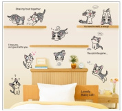 Free Will Lovely Baby Cat Quote Eight Playing Cats DIY Removable Wall Decal Mural Stickers