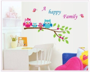 Free Will A Happy Family Quote Owls on Branch of Tree with Butterflies Wall Decor Vinyl Sticker Home Decor Mural