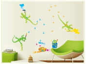 Good Life Gecko with Brush Painting on the Wall with Footprints DIY Wall Decal Removable Wall Sticker