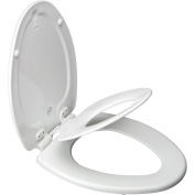 Bemis Mfg 183EC 000 Elongated NextStep Child/Adult Toilet Seat with Easy-Clean & Change Hinge, White
