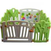 Puzzle and Beep Fun Baby Playpen, Kid Play Zone - 10 Panels (Green) 1.2sqm