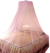 ADS Bed Canopy Netting Round Lace Curtain Dome Princess Mosquito Net Pink
