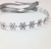 Silver Flower Wrap with Pink. Rhinestones