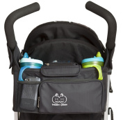 Stroller Organiser - Deluxe, Luxury And Designer Black Baby Stroller Organiser - Comes With Extra Cup Holders Ideal for Drinks, Sippy Cups, Water Bottles, And Baby Bottles - Guaranteed To Keep Your Baby Stroller Accessories Safe And Secure With The Thr ..