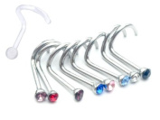 8 Pieces Nose Rings Bone Screw, Nose Gem 20G comes with 1 Nose Retainer