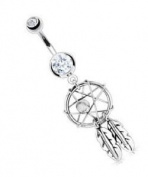 Dangling Dream Catcher Sexy Belly Button Navel Ring Body Piercing Dangle with Clear Gem and Surgical Steel Bar 14 Gauge 1.1cm By Eg Gifts