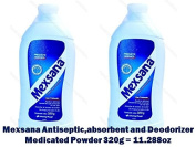 2 Mexsana Antiseptic,absorbent and Deodorizer Medicated Powder 320g = 330ml