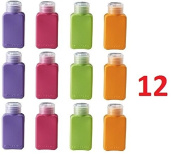 Set of 12 Travel Size Bottles Assorted Colours Aeroplane Trip Gym Bag Shampoo Conditioner Skin Lotion Hair Products Skin Products Beauty Products 100ml Each