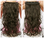 OneDor® 50cm Curly 3/4 Full Head Synthetic Hair Extensions Clip On/in Hairpieces 5 Clips 140g