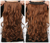 Onedor 50cm Curly 3/4 Full Head Synthetic Hair Extensions Clip on/in Hairpieces 5 Clips 140g