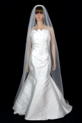 Bridal Wedding Veil Diamond (Off) White 1 Tier Long Chapel Length Pencil Edge