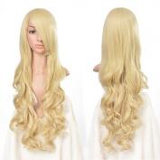 AGPtek 80cm Heat Resistant Curly Wavy Long Cosplay Wigs- Light Gold