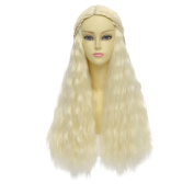 Taobao Building Game of Thrones Daenerys Targaryen/khaleesi Barbarian Bride Costume Beige Braids Long Wavy Hair High Quality Cosplay Wig