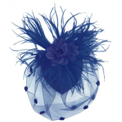 Feather Fabric Flower Net Fascinator Hair Clip and Cocktail Hat