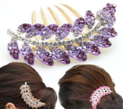 Puprle Fashion Clear Bling Rhinetone Leaves Shape Decorative Hair Comb Barratte Pin Clip for Long Hair Ponytail