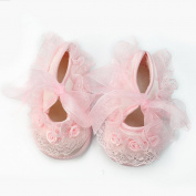 Princess Non-Slip Newborn Baby Toddler Girl Beautiful Lace Shoes 0-3 Month - Pink