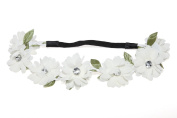 Lux Accessories Full Bloom White Stretch Flower Green Leaf Coachella Floral Headband