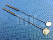 SET OF 2 LARYNGEAL BOILABLE HYGIENE DENTAL MIRRORS WITH HANDLE #3 #4