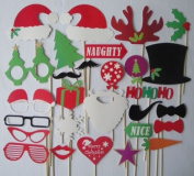 28pcs Colourful Props on a Stick Moustache Photo Booth Party Fun Wedding Christmas Birthday Favour