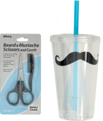 470ml Moustache Cup, Double Walled, Reusable with Lid and Straw PLUS Beard and Moustache Scissors with Mini Comb Trimming Kit