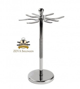 Stainless Steel 4 Prong Safety Razor and Shave Brush Stand From ZEVA