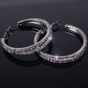 2014 New rhinestone circle hoop earrings black metal plated with clear stones