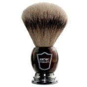 Parker Safety Razor 100% Silvertip Badger Bristle Faux Horn Handle Shaving Brush with Brush Stand