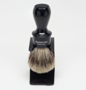 Spitalfields 100% Pure Premium Badger Bristle with Signature Classic Long Black Handle Barber Shop Shaving Brush and FREE Acrylic Stand - Old Spitalfields