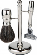 Mach 3 Chrome All In One Shaving Set With Matching Badger Hair Brush And Handle