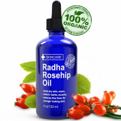 Organic Rosehip Oil ★ Huge 120ml! ★ 100% Pure, Certified Organic & Cold Pressed ★ BEST RATED ROSEHIP SEED OIL for Face and Skin By Radha Beauty ★ Great to heal Dry Skin, Eczema, Acne Scars, Stretch Marks, Fine Lines & More! &#9733.