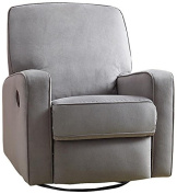 Pulaski DS-912-006-177 Sutton Swivel Glider Recliner, Zen Grey with Stella Piping
